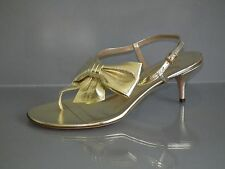 VALENTINO $595 GOLD LEATHER BOW KITTEN HEELS SANDALS  39   9