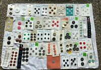 *Group Lot of Button Cards Buttons on Original Cards mostly plastic some metal