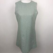 70's Vintage Retro Dress Geometric Pattern Green Sleeveless Polyester Size L/12