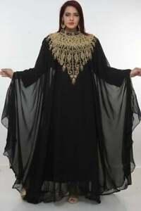 Robe Black Vintage Kaftan Farasha Ramadan Islamic Women Abaya Hijab Prayer Dress