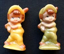 CIRCA 1970s MATCHED PAIR OF VINTAGE CHILD BASEBALL BATTER WAX CANDLE FIGURINES