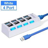 Port Expander Power Adapter USB HUB 3.0 Multiple Splitter speed Switch white PC