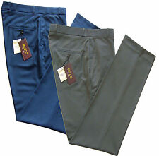 Relco Mens Stay Press Tonic Two Tone Blue Green Trousers Sta Pressed All Sizes