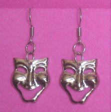 Comedy face mask pierced earrings Glossy Silver tone metal Light Handcrafted