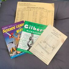 Vintage 1938 Gilbert Microscope Owners Instructions parts list & Advertise Comic