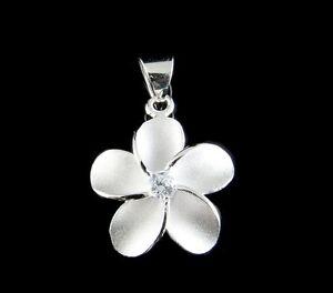 STERLING SILVER 925 HAWAIIAN SINGLE PLUMERIA FLOWER PENDANT CHARM WHITE CZ 15MM