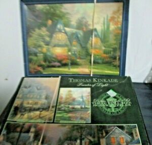 Deluxe Set Thomas Kinkade 3 Puzzles In One + 1000 Windsor Manner