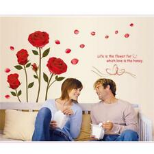 Red Rose Quotes Flower Wall Sticker Removable Home Background Decoration LI