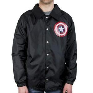 Mens Marvel Captain America Coach's Jacket Windbreaker Rainwear NWT S, L, XL