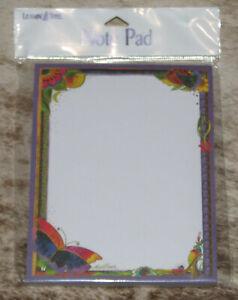 LEANIN TREE Butterflies, Floral~Note Pad 60 sheets~#63110~Artist Laurel Burch~