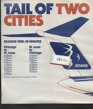 OZARK AIR LINES 1982 TAIL OF 2 CITIES ST LOUIS TO CHICAGO IN 60 MINUTES DC-9 AD