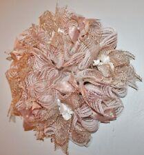 "Handmade Wreath Deco Mesh - Holiday or All Season -Rose Gold & White Flowers-16"""
