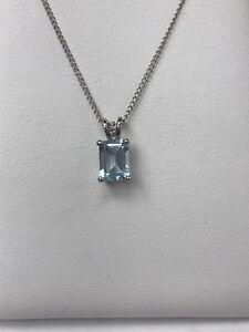 """Blue Aquamarine Emerald Cut Pendant 925 Sterling Silver March Birthstone 18"""""""