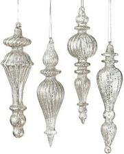 NWT Set of 8 SILVER Mottled Mercury Lined GLASS FINIAL Drop CHRISTMAS Ornaments