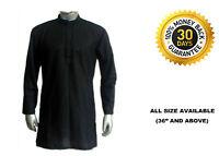 Men's 100% Cotton Shirt Tunic Indian Kurta Plus Size Black Solid Loose Fit