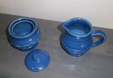 Longaberger Pottery ~ Cornflower Blue Sugar Bowl & Creamer Set ~ Made in Usa