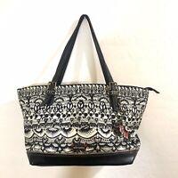 Sakroots Black White Geometric Woven Shoulder Bag Large Summer