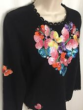 0717073 MICHAEL SIMON Event Sweater M Colorful Butterfly Heart Sequin Black Top