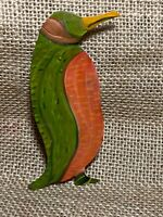 Vintage PETER SCHROTH (NY artist) Whimsical Pin Penguin Painted Tin Signed OOAK