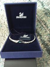 Genuine Swarovski Bangle - with Clear Crystal Stones and 1 Larger Blue Stone