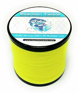Reaction Tackle High Performance Braided Fishing Line / Braid - Hi Vis Yellow