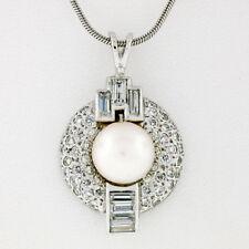Vintage Platinum 1.70ct Old Transitional Baguette Diamond Pearl Pendant Necklace