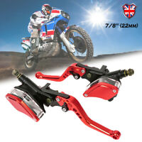 """7/8"""" Universal Motorcycle Front Brake Clutch Lever Master Cylinder Reservoir Set"""