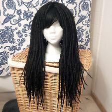 Long Black Gothic Dreadlock Wig Adjustable Size S M L XL bangs Headrazor 25 inch