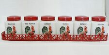 VINTAGE SET OF 6 ROOSTER DESIGN WHITE GLASS SPICE JARS WITH TIN TRAY