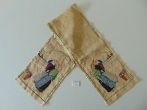 ANTIQUE FOLKLORE EMBROIDERED CLOCK RUNNER FOR DUTCH FRIESIAN TAIL AND STOEL C...