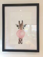 Giraffe Bubble Gum Baby Nursery Modern Art Poster Print Wall Picture Home