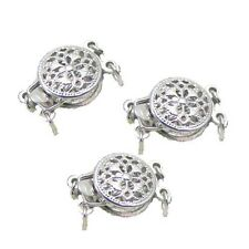 Jewelry Findings 2-Strand White Gold Filled Hollow Double Flower Box Clasps 9mm