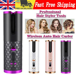 Wireless LCD Ceramic Cordless Hair Curler Auto Rotating Hair Waver Curling Iron