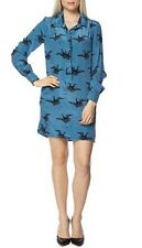 FRENCH CONNECTION blue silk stork shirt dress abito vestito donna 6 UK 40 IT NWT