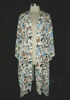 MODCLOTH Plus Size 3X 4X Jacket Cardigan Top White Blue Floral 3/4th Sleeve