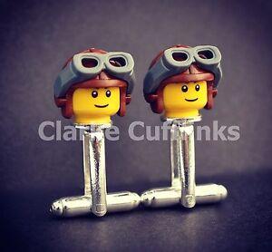 LEGO® Mini Figure Pilot Cufflinks Dad Unique Mens Present Gift Birthday Wedding