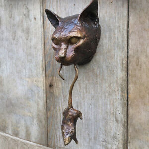 Cat and Mouse Door Knocker or Wall Resin Ornament Rusty Brown Cast Iron