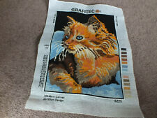 Collectible Needlepoint Canvas Sampler Ready to Frame Thinking Kitten 11.75x9.75