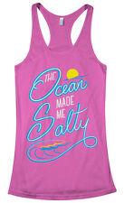 The Ocean Made Me Salty Women's Racerback Tank Top Fun Beach Water Lover