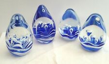 Glass Blue Ocean Water Bubble Paperweights Set of 4