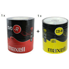 MAXELL 100Pk DVD-R And CD-R Blank Recordable Disc CDs CDR DVDR 1 Pack Of Each