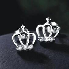 925 Sterling Silver Crown Children  Baby Girls Earrings Wedding Rings
