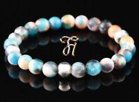 Jade blau bunt 925er sterling Silber Armband Bracelet Perlenarmband 8mm