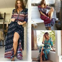 Womens Boho V-neck Floral Slit Maxi Beach Dresses Ladies Summer Holiday Sundress