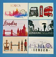 Set of 6 London Postcards England City View Street Travel Landscape Landmarks