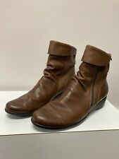 MEPHISTO AIR-JET SEDDY Brown Leather Side Zip Wedge Ankle 10