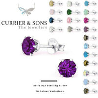 LA CRYSTALE 925 Sterling Silver Round Stud Earrings with SWAROVSKI® Elements 5mm