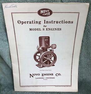 vintage NOVO MODEL S old hit & miss gas Stationary Engine OPERATING INSTRUCTIONS