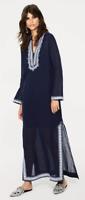 Tory Burch Emilia Cover Up Caftan Dress 10 NWT LNavy Linen Blend