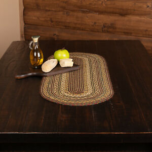 "VHC Brands Rustic 36""x13"" Table Runner Green Tea Cabin Jute Kitchen Table Decor"
